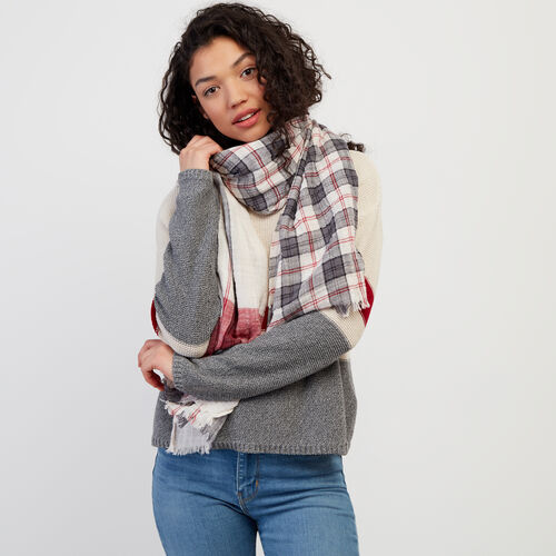 Roots-Women New Arrivals-Smoke Lake Plaid Scarf-Birch White-A