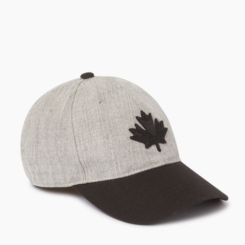 Roots-Men Accessories-Modern Leaf Block  Baseball Cap-Grey Mix-A