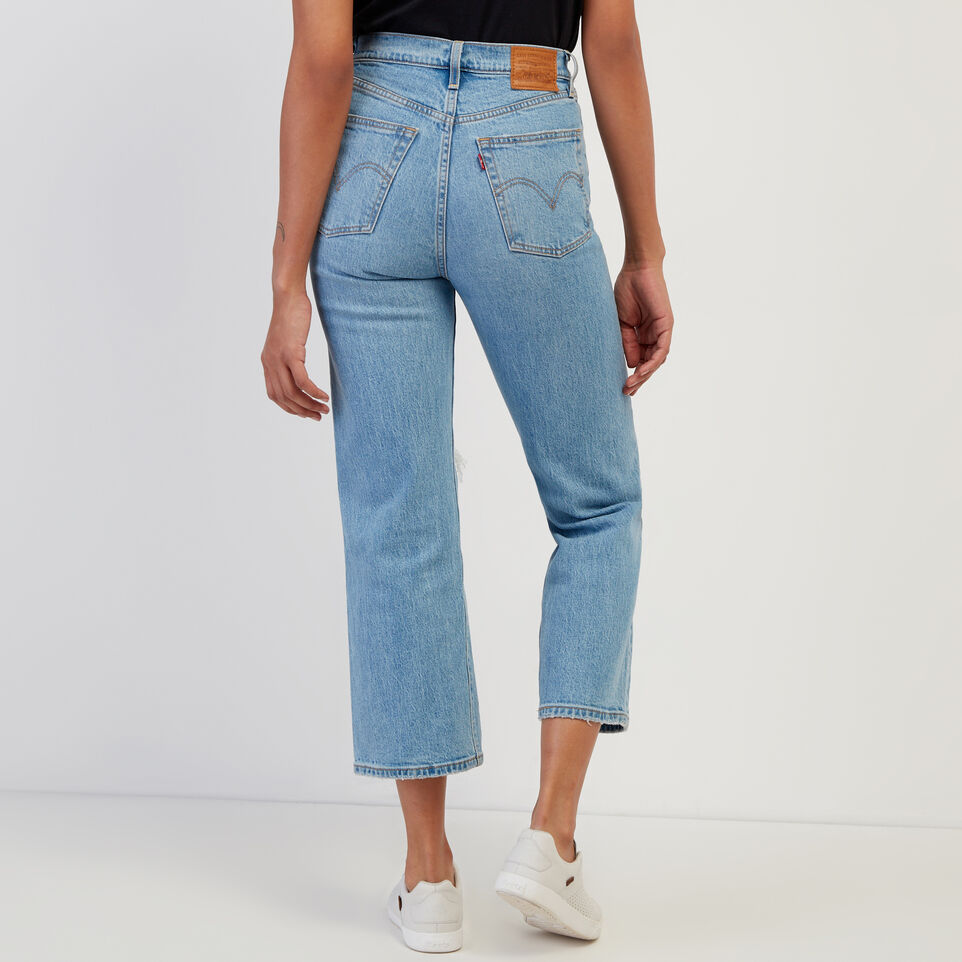 Roots-Women Clothing-Levi's Ribcage Straight Ankle Jean-Med Denim Blue-D