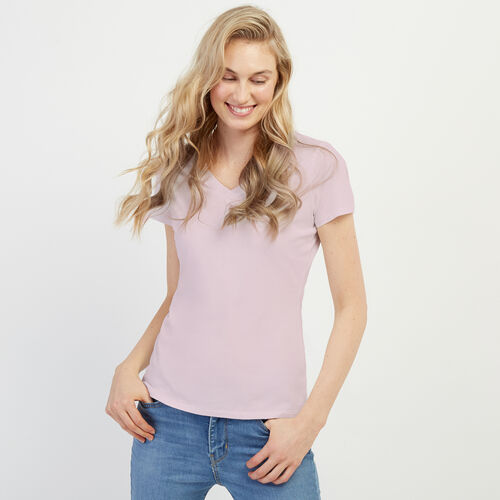 Roots-Women Clothing-Essential Slim  V-neck T-shirt-Misty Lilac-A