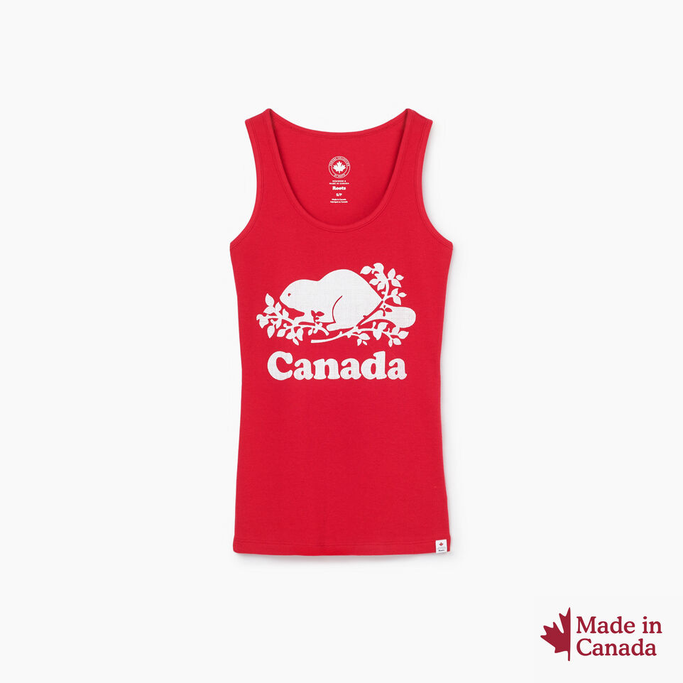 Roots-New For July Women-Cooper Canada Rib Tank-Sage Red-A