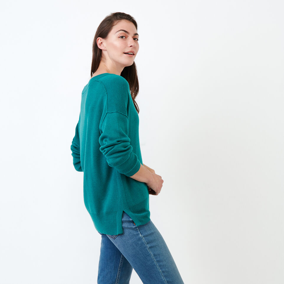 Roots-Women Categories-Alma V Neck Sweater-Teal Green-C
