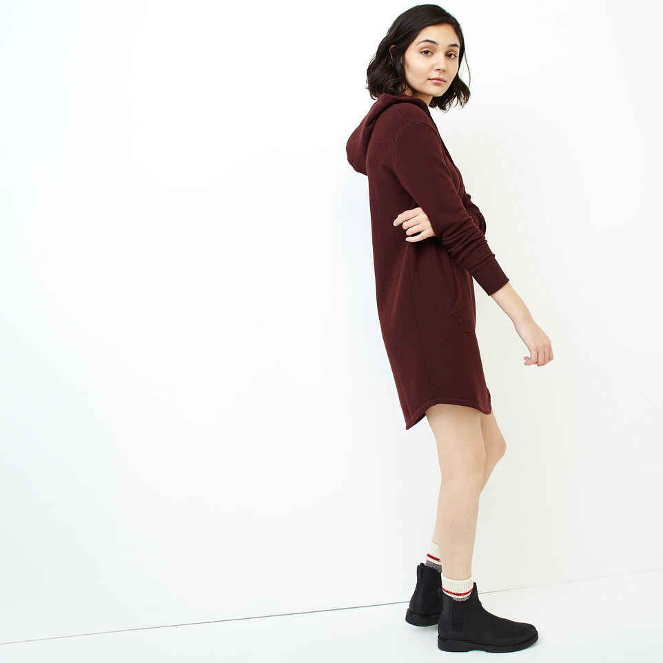 Roots-Women Categories-Cozy Fleece Kanga Dress-Crimson Pepper-C