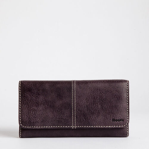 Roots-Leather  Handcrafted By Us Categories-Large Chequebook Clutch Tribe-Wineberry-A