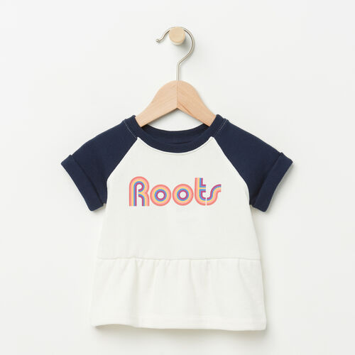 Roots-Kids Baby-Baby Short Sleeve Peplum Crew-Pristine White-A