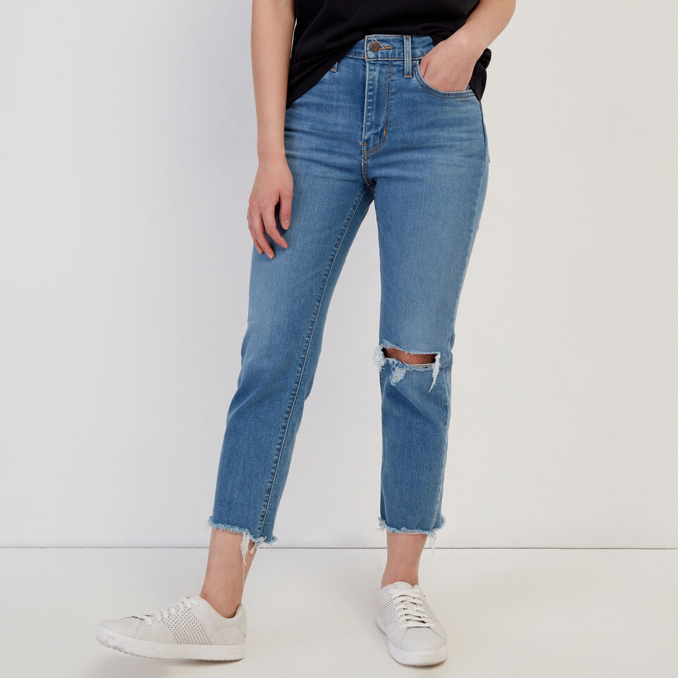 Roots-Women Clothing-Levi's 724 Hi rise Straight Crop Jean-Med Denim Blue-A