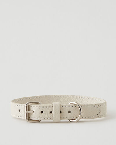 Roots-Leather Dog Accessories-Large Leather Dog Collar Parisian-Ivoire-A