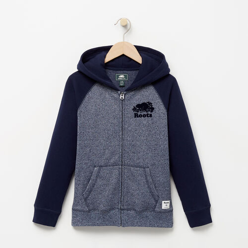 Roots-Kids Sweats-Boys Original Full Zip Hoody-Navy Blazer Pepper-A
