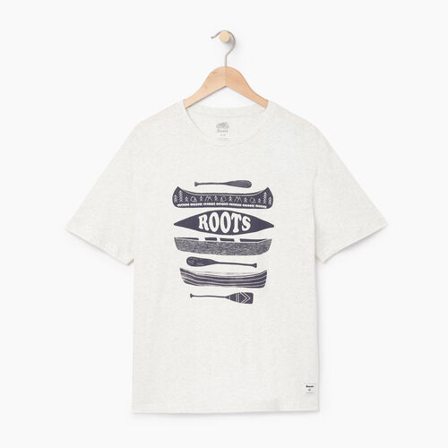Roots-Men Graphic T-shirts-Mens Roots Canoe T-shirt-Ivory Pepper-A