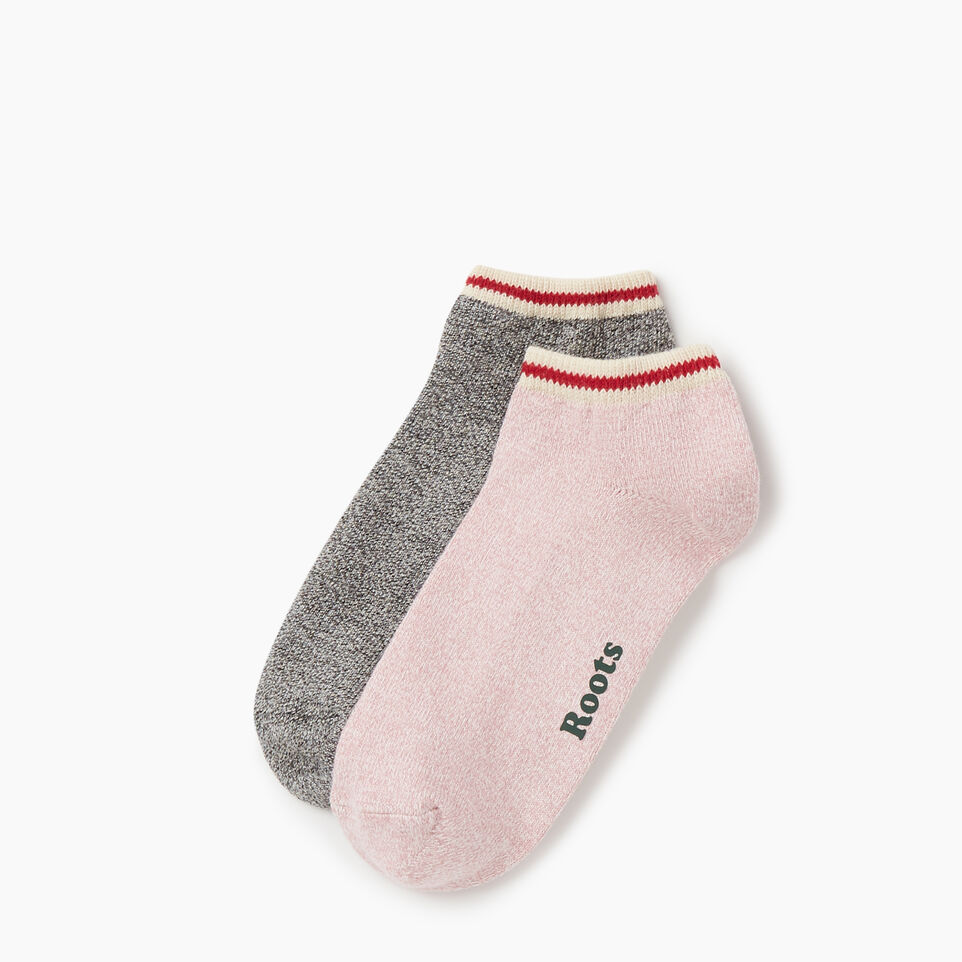 Roots-Women Socks-Womens Cotton Cabin Ped Sock 2 pack-Pink-A
