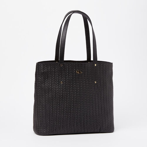 Roots-Winter Sale Leather-Downtown Zip Tote Woven Tribe-Black-A