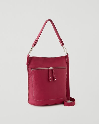 Roots-Leather Leather Bags-French Bucket Parisian-Magenta-A