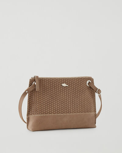 Roots-Leather Leather Bags-Edie Bag Woven-Sand-A