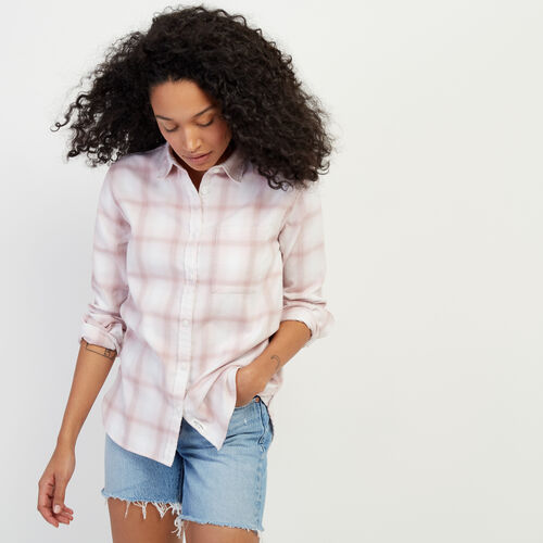 Roots-Women Categories-Journey Flannel Shirt-Burnished Lilac-A