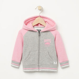 Roots-Kids Baby Girl-Baby RBC Varsity Full Zip Hoody-Grey Mix-A