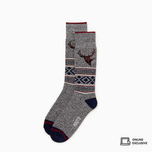 Roots-Gifts Lounge-Mens Wilderness Boot Sock-Navy Blazer-A