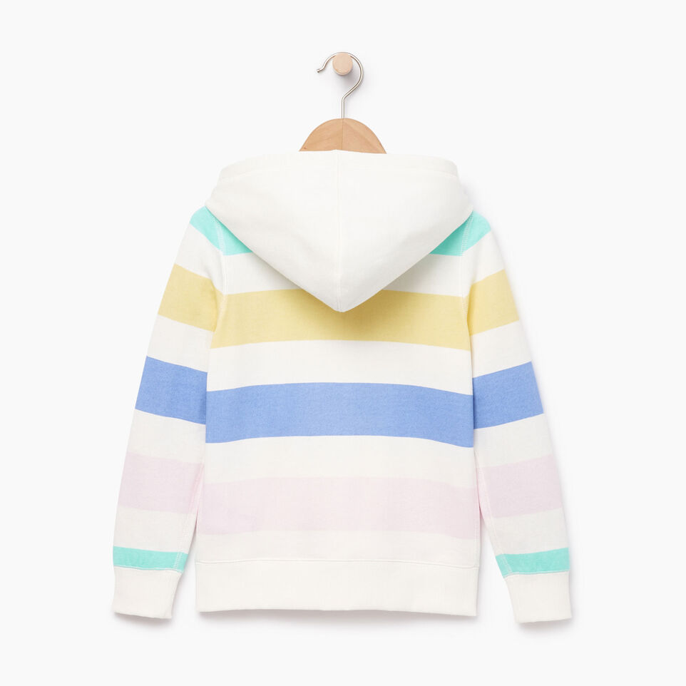 Roots-Clearance Kids-Girls Ombre Stripe Full Zip Hoody-Ivory-B