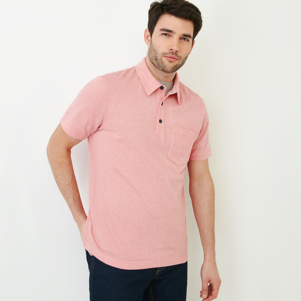 Roots-Men Our Favourite New Arrivals-Jersey Peppered Polo-Pink Pepper-A