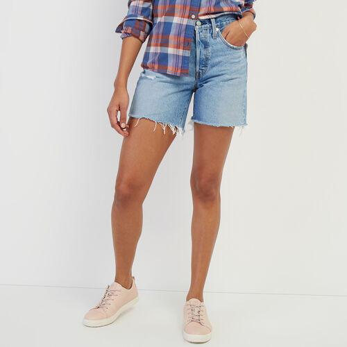 Roots-Women Categories-Levi's 501 Mid Thigh Short-Med Denim Blue-A
