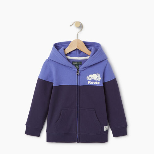Roots-Clearance Kids-Toddler Colour Block Full Zip Hoody-Violet Storm-A