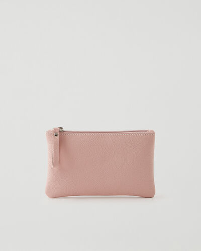 Roots-Leather Tech & Travel-Medium Zip Pouch Cervino-Pink Pearl-A
