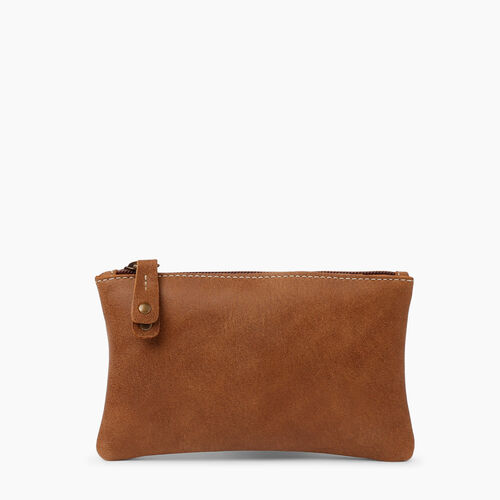 Roots-Leather  Handcrafted By Us Leather Accessories-Medium Zip Pouch-Natural-A