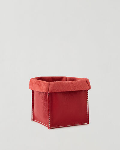 Roots-Leather Leather Accessories-Medium Rollover Basket Cervino-Lipstick Red-A