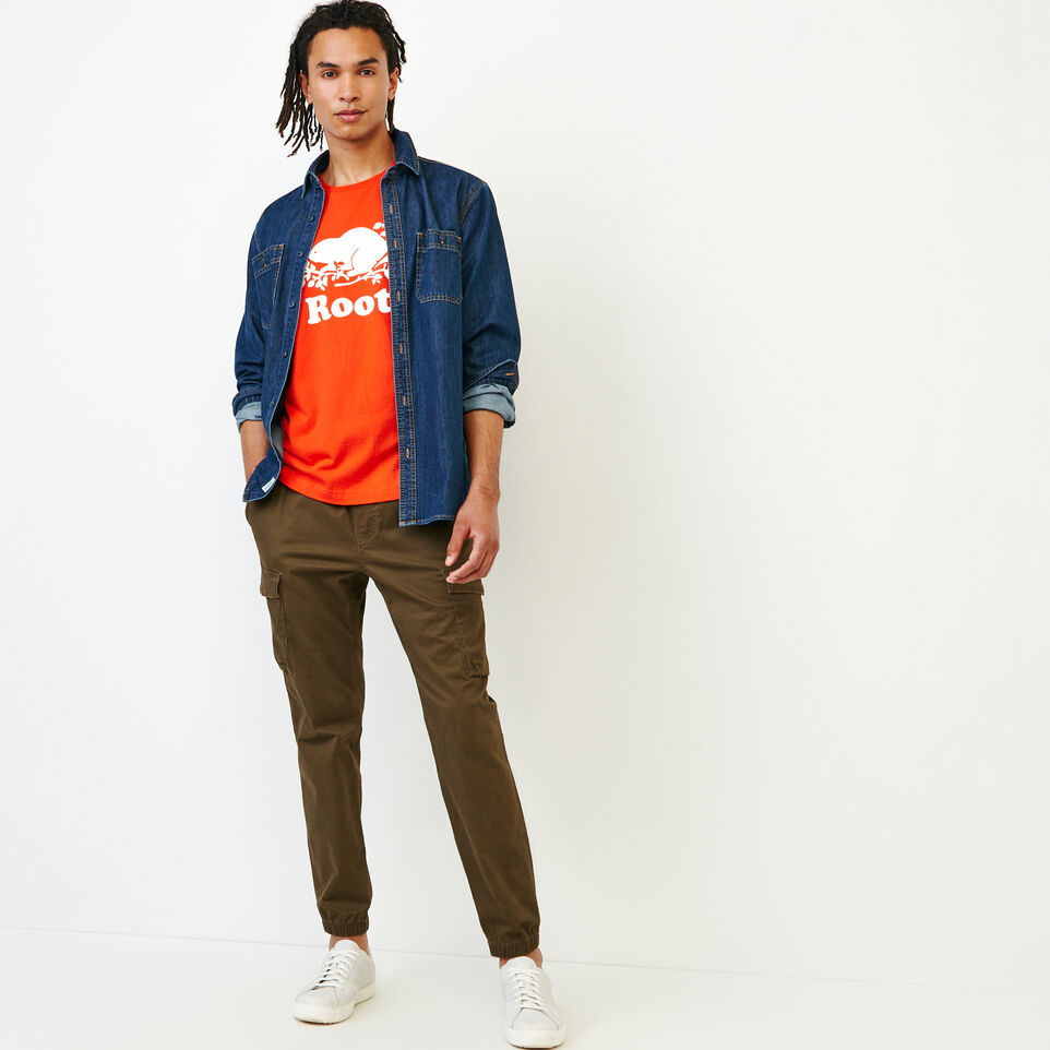 Roots-New For August Men-Mens Cooper Beaver T-shirt-Spicy Orange-B
