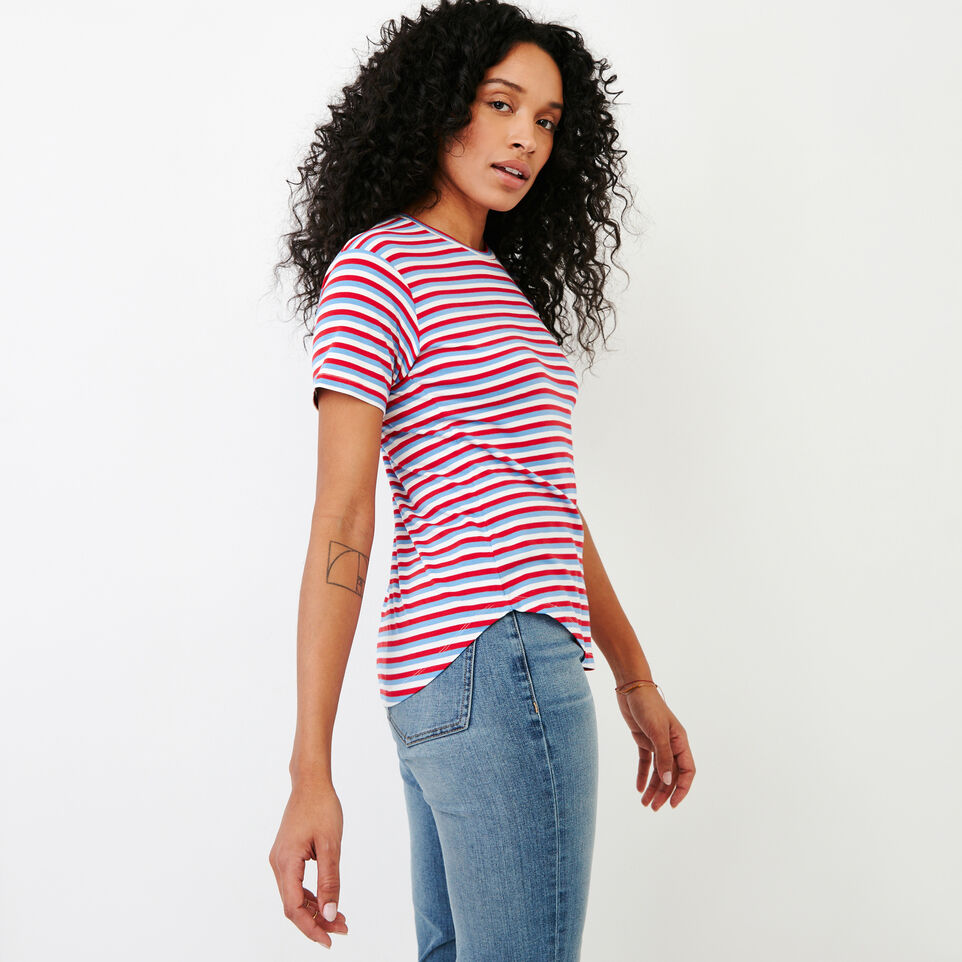 Roots-New For January Women-Aster Stripe Top-Racing Red-C