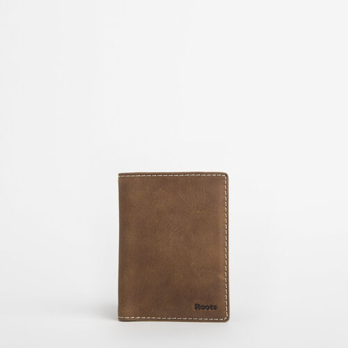 Roots-Leather Travel Wallets-Passport Holder Tribe-Natural-A