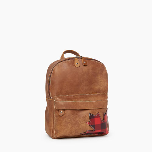 Roots-Women Backpacks-Park Plaid Canada Backpack-Natural-A