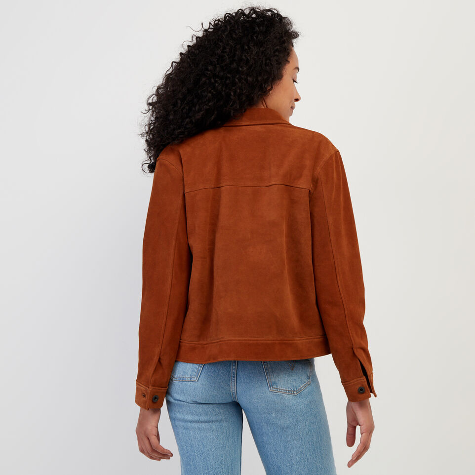 Roots-Leather Leather Jackets-Womens Trucker Jacket Suede-Tan-D