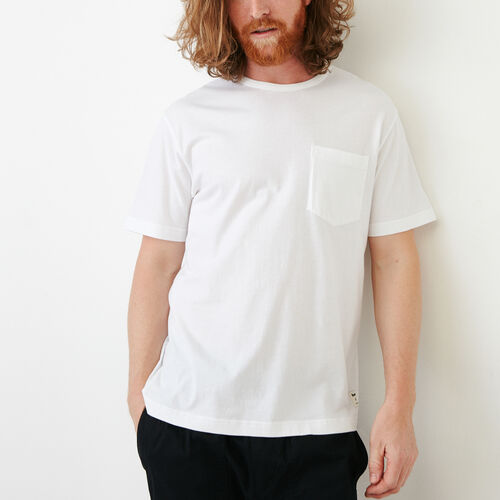 Roots-Men Short Sleeve T-shirts-Essential Pocket T-shirt-White-A