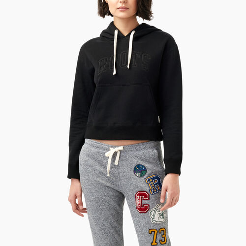 Roots-Women Sweats-Varsity Kanga Hoody-Black-A