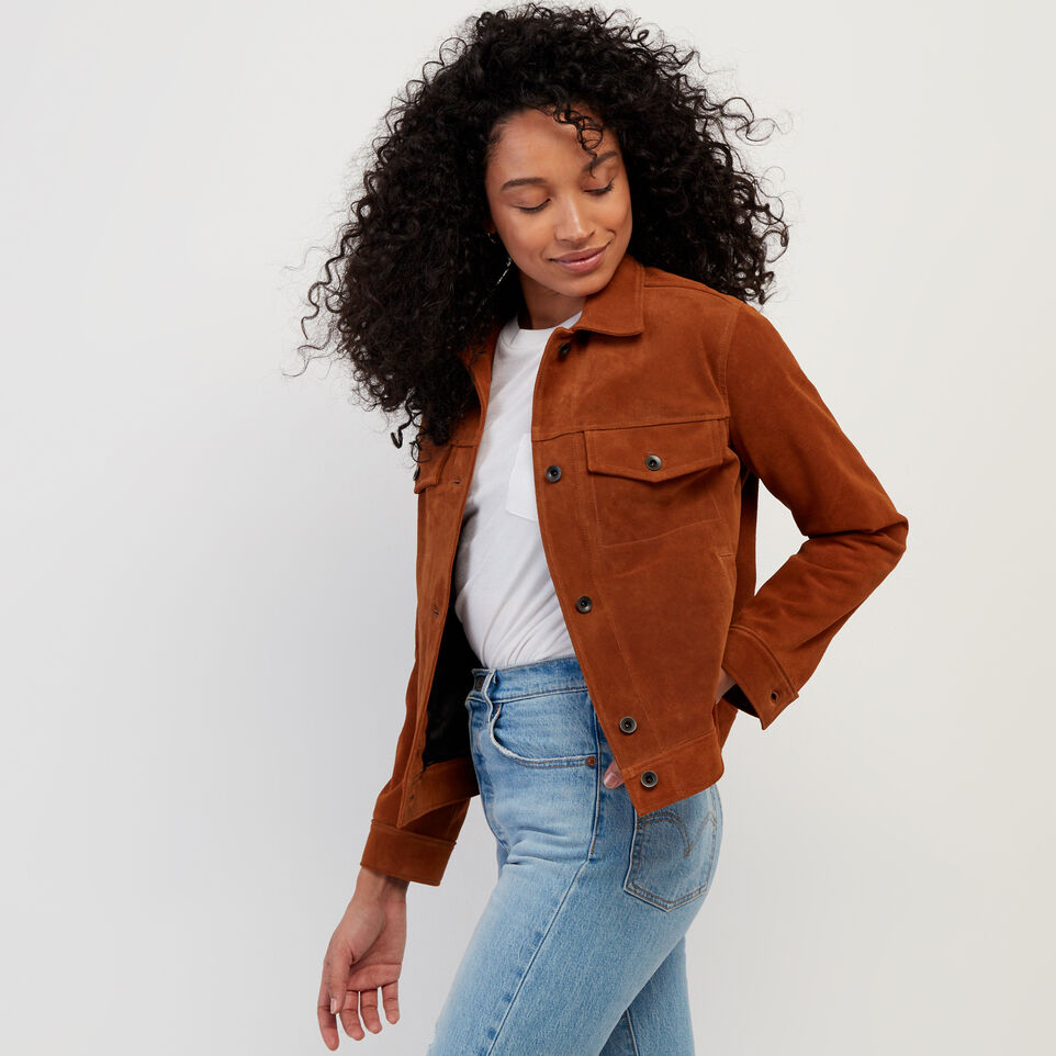 Roots-Leather Leather Jackets-Womens Trucker Jacket Suede-Tan-C