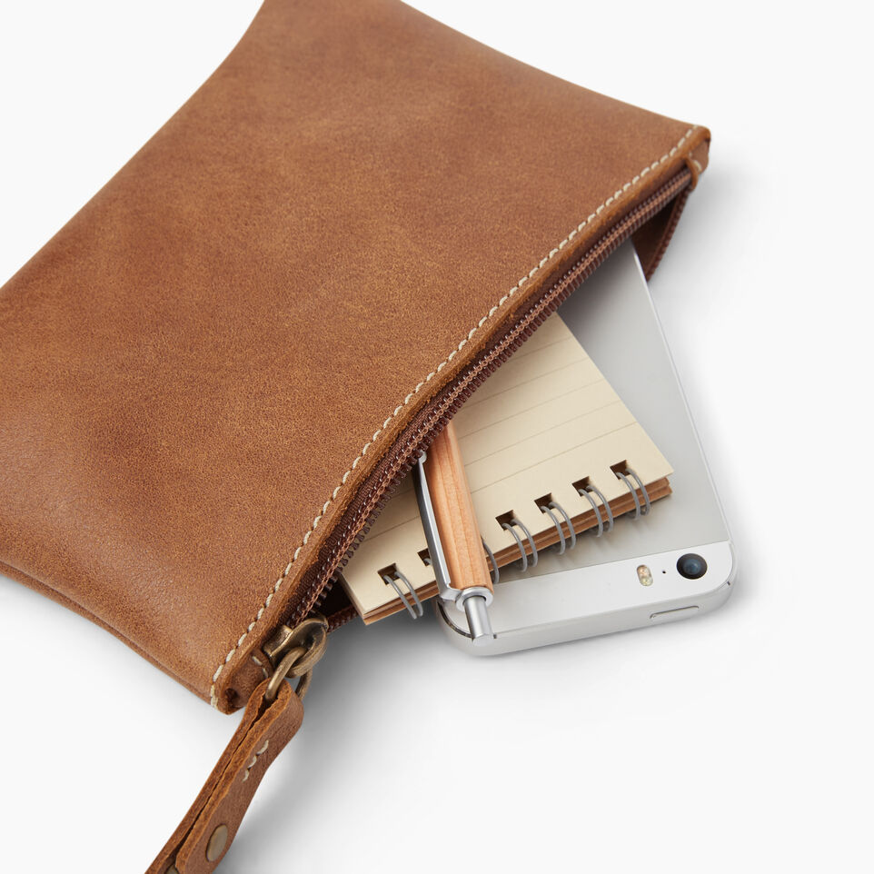 Roots-Women Leather Accessories-Medium Zip Pouch-Natural-B