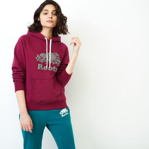 Roots-Women Sweatshirts & Hoodies-Chenille Cooper Beaver Hoody-Purple Potion-A