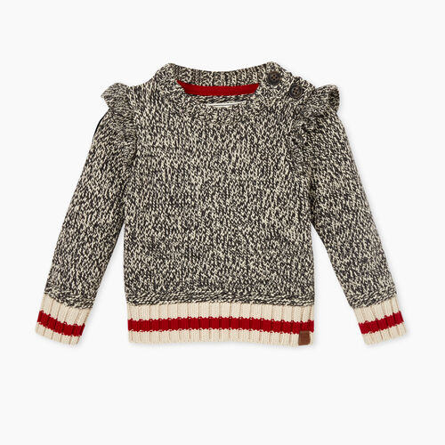Roots-Kids Tops-Baby Cabin Crewneck Sweater-Grey Oat Mix-A