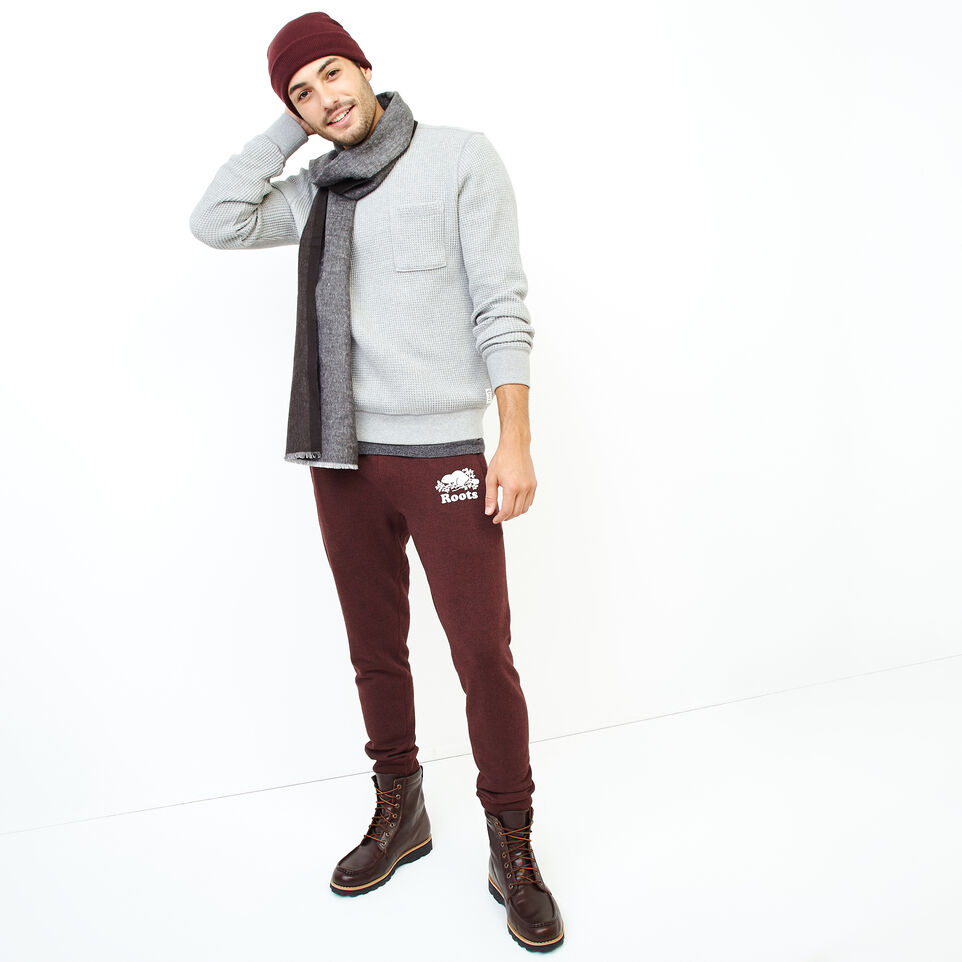 Roots-Men Our Favourite New Arrivals-Deep Cove Waffle Crew Top-Grey Mix-B