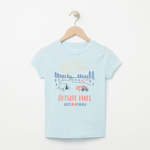 Roots-Enfants T-shirts Illustrés-T-shirt Open Air pour filles-Bleu Chambray-A