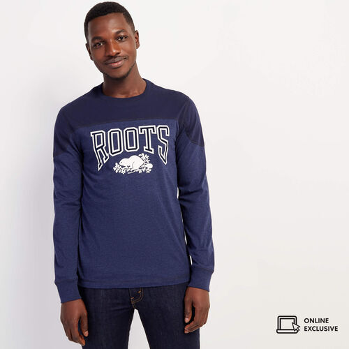 Roots-Gifts Lounge-Mens Messier Long Sleeve T-shirt-Navy Blazer Mix-A