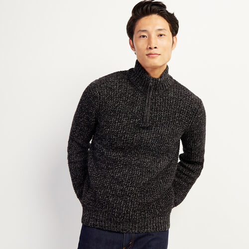 Roots-Men New Arrivals-Snowy Fox Zip Mock Sweater-Black Fox-A