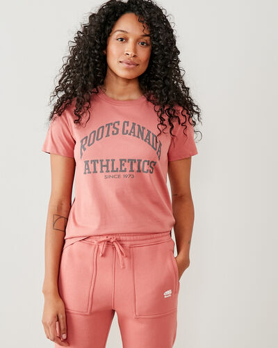 Roots-Women Tops-Womens Big Arch T-shirt-Canyon Rose-A