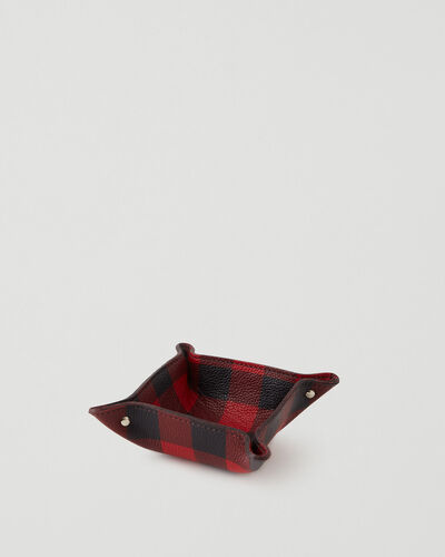 Roots-Leather Leather Accessories-Park Plaid Small Tray Cervino-Cabin Red-A