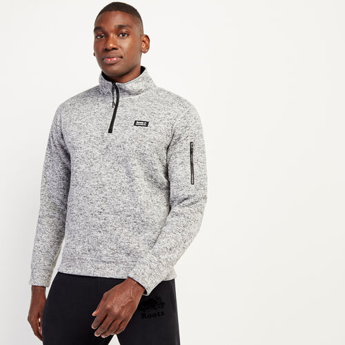 Roots-New For November Journey Collection-Journey Knit Zip Mock Sweatshirt-Salt & Pepper-A