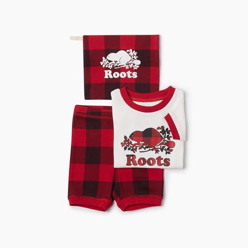 Roots-Kids Rompers & Onesies-Baby Plaid PJ Set-Cabin Red-A