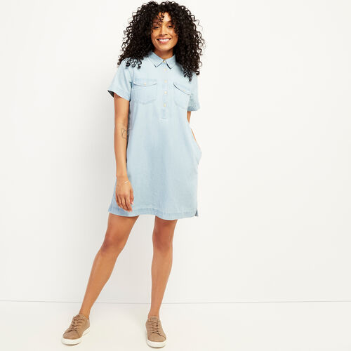 Roots-Women Dresses & Jumpsuits-Sherbrook Chambray Dress-Chambray Blue-A