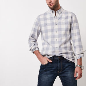 Roots-New For March Men-Battleford Shirt-Flint Stone Mix-A