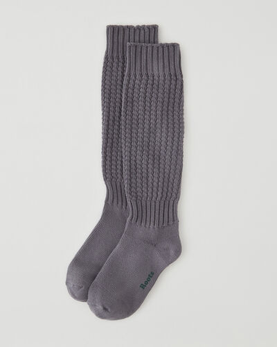 Roots-Women Accessories-Womens Camp Slouchy Sock-Castor Grey-A