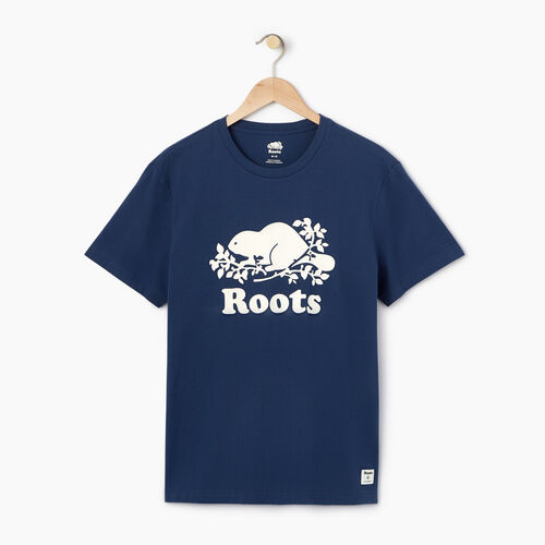 Roots-Men Tops-Mens Cooper Beaver T-shirt-Sargasso Sea-A